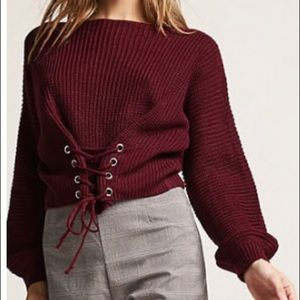 Forever 21 Blue Blush tie detail cropped sweater